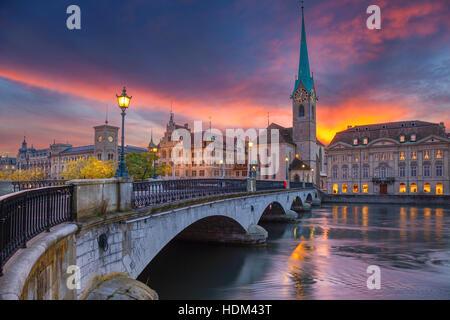 Zurich. Cityscape image of Zurich, Switzerland during dramatic sunset. - Stock Photo