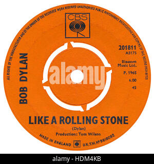 45 RPM 7' UK record label of Like A Rolling Stone by Bob Dylan on the CBS label from 1965 - Stock Photo