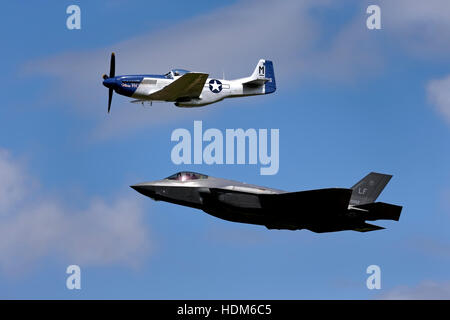 The United States Air Force Heritage Flight North American P-51D Mustang 'Miss Helen' & Lockheed Martin F-35A Lightning - Stock Photo