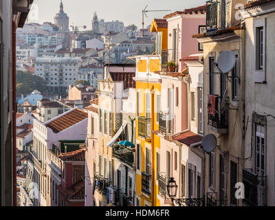 Architecture in the Old Town of Lisbon, Portugal. - Stock Photo