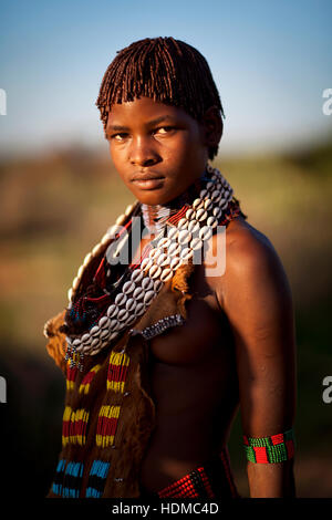 Young Hamar woman in Ethiopia - Stock Photo