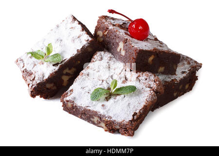 chocolate cake brownie with walnuts and cherries close-up. horizontal isolated on white background - Stock Photo