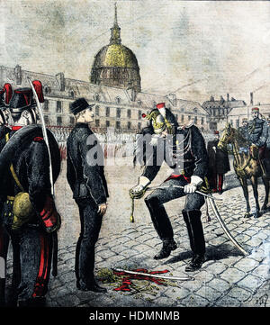 THE TRAITOR. DEGRADATION OF ALFRED DREYFUS. ILLUSTRATED SUPPLEMENT OF 'Le Petit Journal ' SUNDAY, JANUARY 13, 1895 - Stock Photo