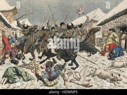 'Le Petit Journal' - Russo-Japanese War 1904-1905, Russian Cossaks marauding through a Korean village. - Stock Photo