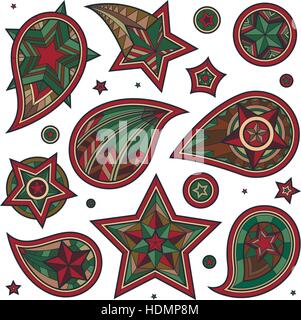 Hand drawn military colored star paisley swirls and decorative elements on white background. Brutal army style. - Stock Photo
