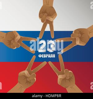 23 February. Day of defenders of fatherland. Patriotic holiday in Russia. Five victory men hands on Russian flag - Stock Photo