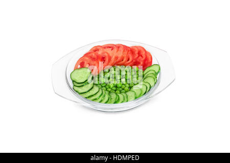 vegetables in a glass bowl isolated on white background - Stock Photo