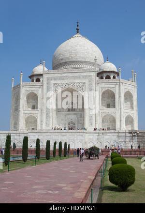 The Taj Mahal mausoleum,southern view ,Uttar Pradesh, India - Stock Photo