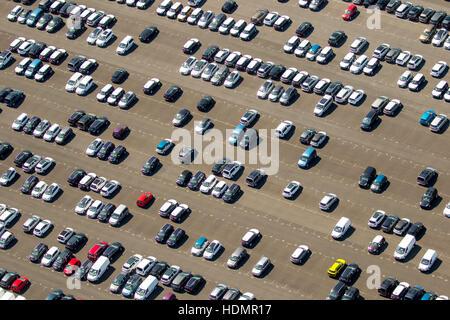 Aerial photograph, new car parking lot, Citroen, Peugeot, Ford, colourful rows of cars, Wallenius Wilhelmsen Logistics, - Stock Photo