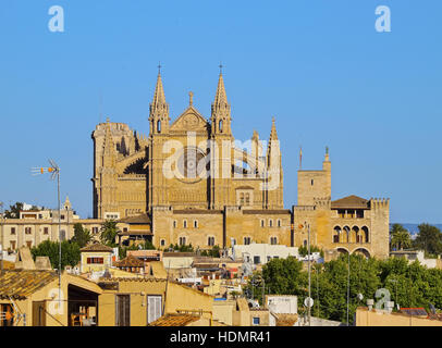 Cathedral La Seu, Palma de Mallorca, La Palma, Balearic Islands, Spain - Stock Photo