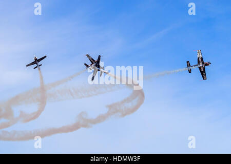 The Blades Aerobatic team performing their display maneuvers at the southport airshow - Stock Photo