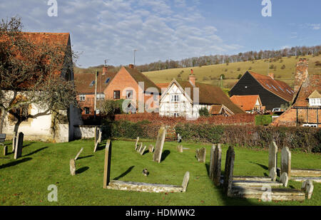 English Landscape overlooking the Village of Turville in the Chiltern Hills - Stock Photo