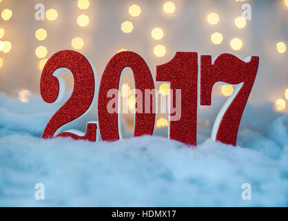 Happy New 2017 year in red tones. - Stock Photo