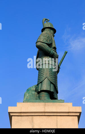 Admiral Yi sun-shin Statue, Yongdusan Park, Busan, South Korea, Asia - Stock Photo