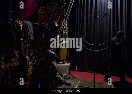 Czech Republic. 21st Nov, 2016. Behind the scenes of everyday life of the circus people in Czech Republic (Hradec - Stock Photo