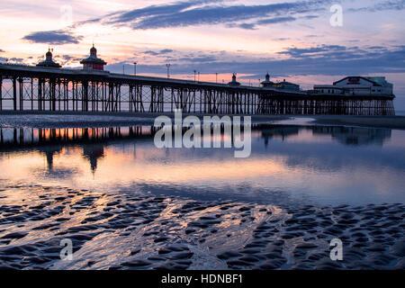 Blackpool, Lancashire, UK. 14th Dec, 2016. UK Weather: Sunset over Blackpool, North Pier coastal landmark, Lancashire: - Stock Photo