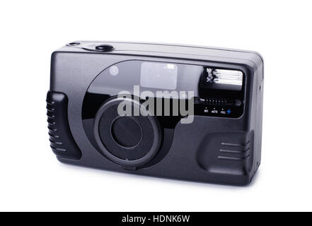 Black compact film camera isolated on white background - Stock Photo