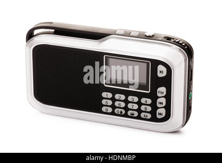 Modern black radio receiver isolated on a white background - Stock Photo