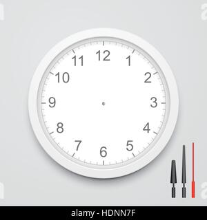 3d vector blank clock face with hour, minute and second hands isolated on white background - Stock Photo