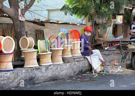 An old man sitting  wearing traditional turban and Costume of Rajasthan. Anna Sagar Ghati Ganj , Ajmer, Rajasthan, - Stock Photo