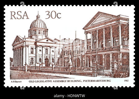 South African 30c postage stamp (1982) : Old Legislative Assembly Building, Pietermaritzburg - Stock Photo