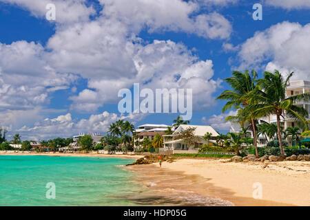 Worthing Beach at Worthing, between St. Lawrence Gap and Bridgetown, South coast, Barbados, Caribbean.