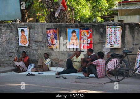 Ajmer Street View of a Market. Ajmer street market , Rajasthan India. - Stock Photo