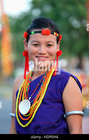 Pochury Naga Tribal Woman in Traditional Costumes. Pochury is one of the Prominent Tribes in Phek District of Nagaland. - Stock Photo