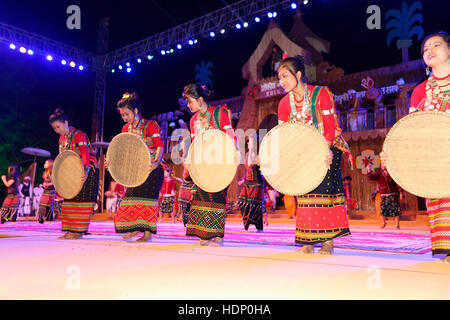 Tribal dancers from Assam performing Traditional dance. Tribal Festival in Ajmer, Rajasthan, India - Stock Photo