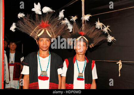 Adi Tribal Men with Traditional Headgear from Arunachal Pradesh India. Tribal Festival in Ajmer, Rajasthan, India - Stock Photo