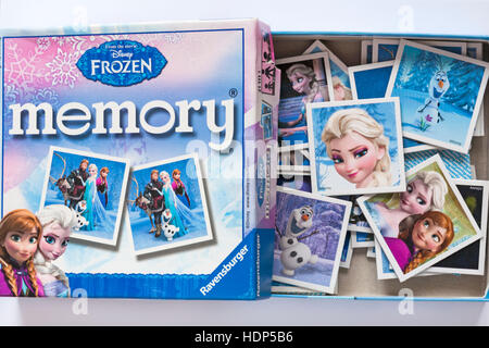 From the movie Disney Frozen Memory game set on white background - Stock Photo