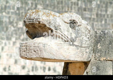 Jaguar heads of the Venus Platform, Ancient Maya Ruins, Chichen Itza Archaeological Site, Yucatan, Mexico - Stock Photo