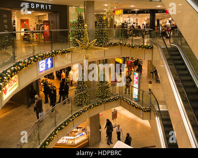 Inside City Point shopping centre decorated for Christmas Nuremberg Bavaria Germany EU - Stock Photo