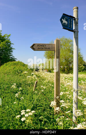 Bridleway sign, and signpost for the Pewsey Avon Trail, a footpath linking Pewsey to Salisbury along the river Avon - Stock Photo