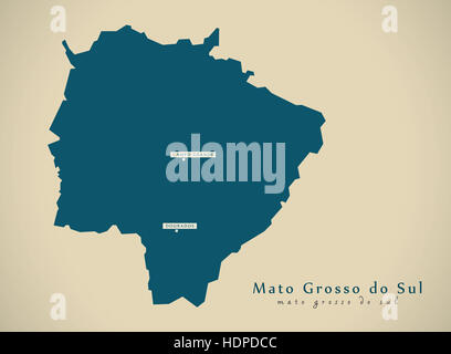 Modern Map - Mato Grosso do Sul BR Brazil Illustration - Stock Photo