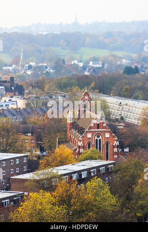 View towards Hampstead from the top of Archway Tower, North London, UK - Stock Photo