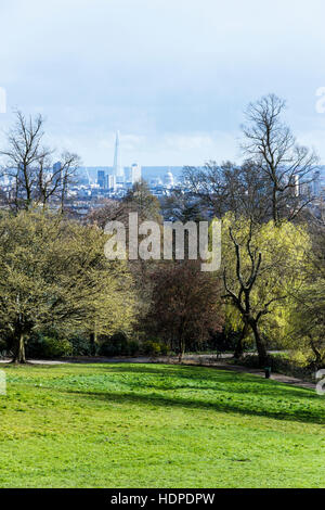 View of the City of London from Waterlow Park, North London, UK - Stock Photo