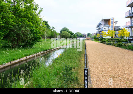 New River Village housing development next to the New River, Hornsey, North London, UK - Stock Photo