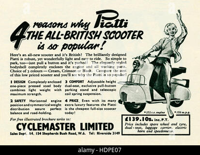 A 1957 advert for the British-made, Italian-looking Piatti motor scooter - Stock Photo