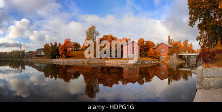 Autumn colors in the marine reflection of the twin. Close to the center of Helsinki is a magnificent place - Stock Photo