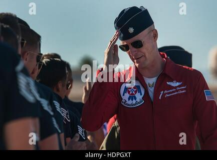 U.S. Air Force Air Demonstration Squadron commander Christopher Hammond salutes Thunderbird crew chiefs before take - Stock Photo