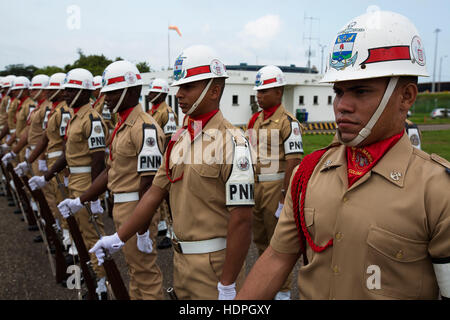 Infanteria de Marina de Colombia soldiers stand in formation for the arrival of senior naval leaders for the Marine - Stock Photo