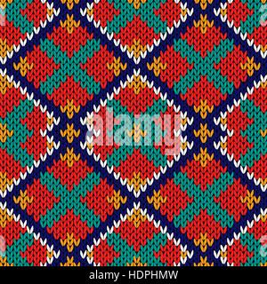 Knitted background with multicolor rhombus ornament in red, orange, blue, white and turquoise hues, seamless knitting - Stock Photo