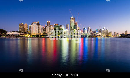 Gorgeous colors of the buildings reflected in the waters of Sydney darling harbor at Barangaroo - Stock Photo