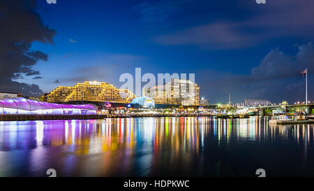 Blue hour reflected lights in Sydney Darling Harbour - Stock Photo