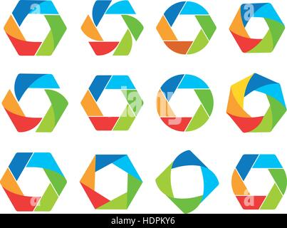Isolated abstract colorful hexagon and round shape logo collection. Geometric logotypes set on white background. - Stock Photo