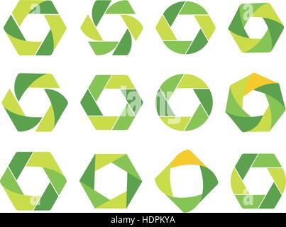Isolated abstract green hexagon and round logo. Geometric eco logotypes set on white bacground. Organic products - Stock Photo