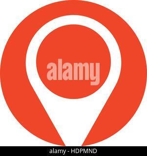 pin map pointer location symbol red circle - Stock Photo