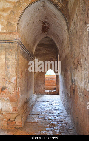 Hall of ancient Buddhist temple in Bagan, Myanmar - Stock Photo