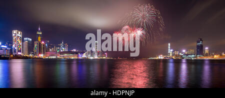 Fireworks at Victoria Harbor of Hong Kong - Stock Photo